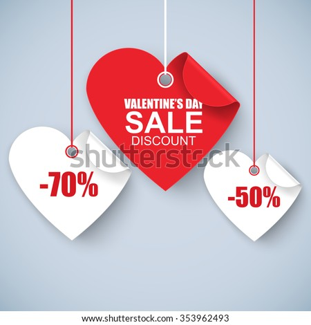 Valentines day heart sale tag, poster template. Red twisted heart, isolated on white background. Vector illustration. - stock vector