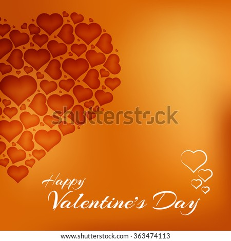 Valentines day heart with text and small hearts on orange background - stock vector