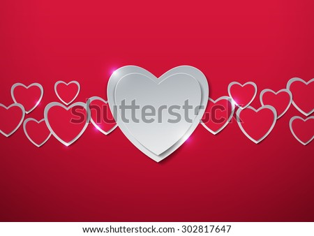 Valentines Day. Hearts cut out from Paper, Vector Illustration - stock vector