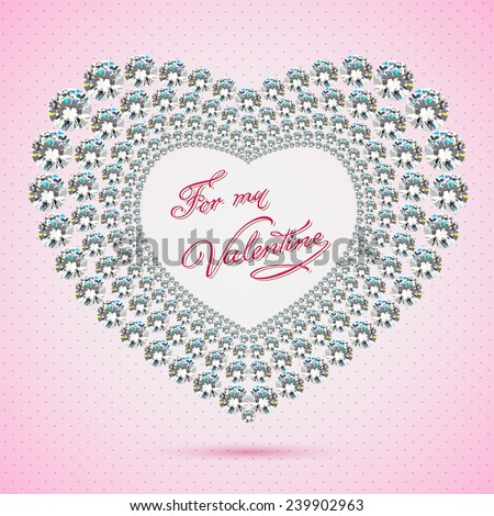 Valentines day invitation design background. Brilliant frame.Vector - stock vector
