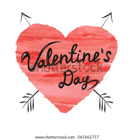 Valentines day lettering on watercolor red heart - stock vector