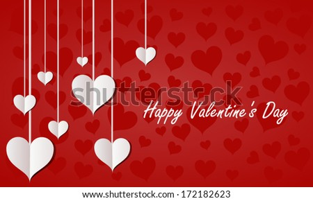 Valentines Day Paper Hearts On Red Background - stock vector