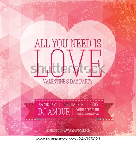 Valentines day party flyer with modern design and retro elements.  - stock vector