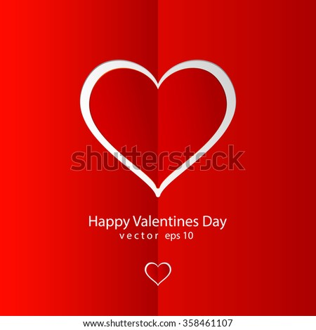 Valentines day red background with red paper heard - stock vector