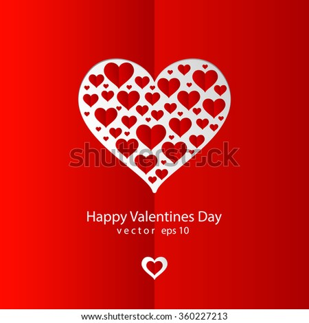 Valentines day red background with red paper hearts - stock vector