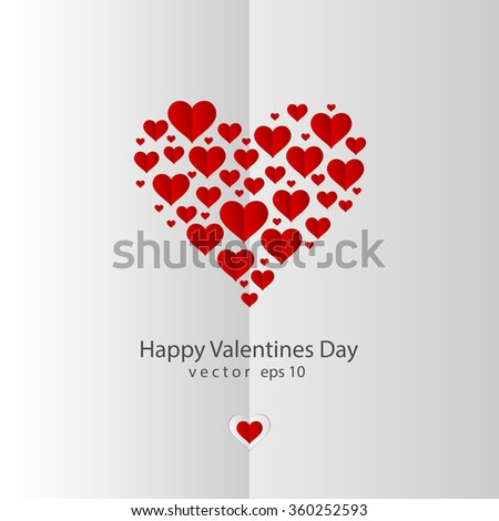 Valentines day red paper hearts on gray background - stock vector
