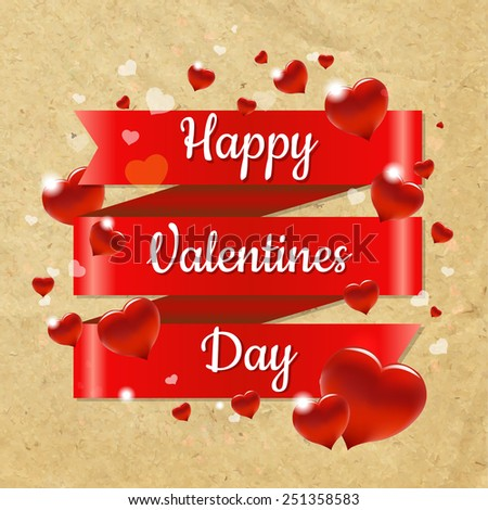 Valentines Day Retro Card With Gradient Mesh, Vector Illustration - stock vector