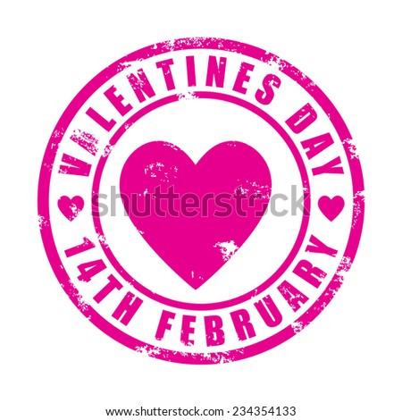 Valentines day, rubber stamp, vector illustration - stock vector