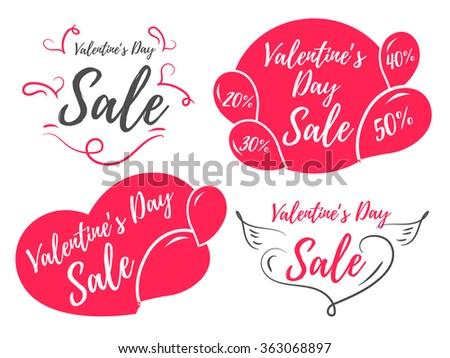 Valentines day sale promo store. Sale set.  - stock vector