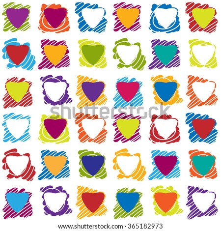 Valentines day seamless patterns with hearts in squares and spots. Mosaic card, tiled ornament. Vector illustration. Valentines day design. - stock vector