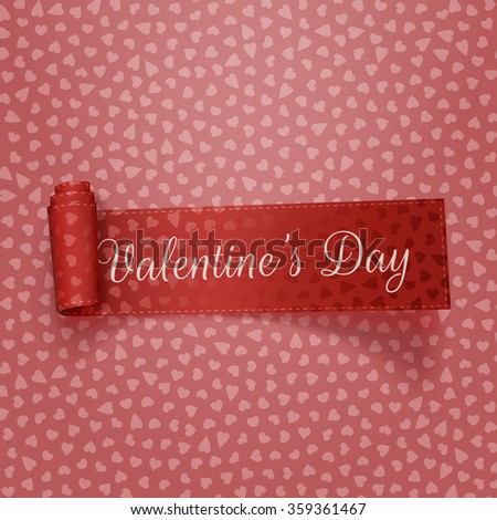 Valentines Day textile scroll red Ribbon - stock vector