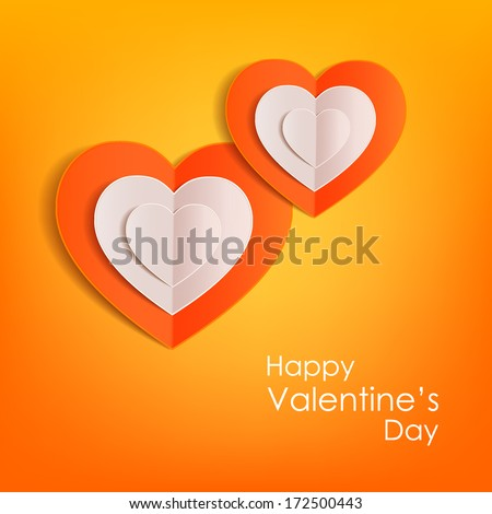 Valentines day typographical background with paper hearts .This vector illustration can be used as greeting card or wedding invitation for your design. - stock vector