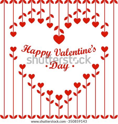 Valentines Day; Valentines Day Card: Valentines Day Vector; Valentines Day Art; Valentines Day Graphic; Heart Flowers and Cherries on White Background. EPS8 Vector Illustration. - stock vector