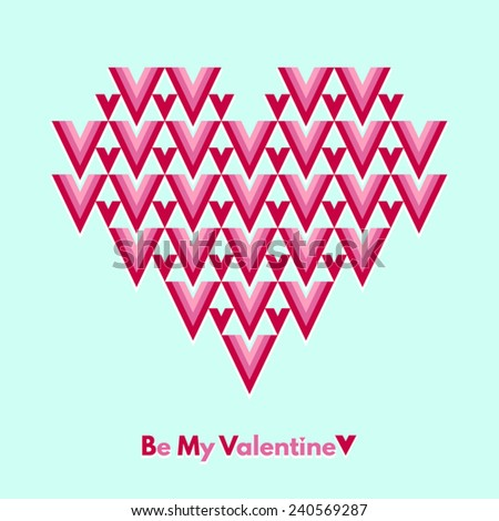 Valentines Day vector greeting card. Be My Valentine. Abstract geometrical heart with lettering. Conceptual, minimalist. - stock vector