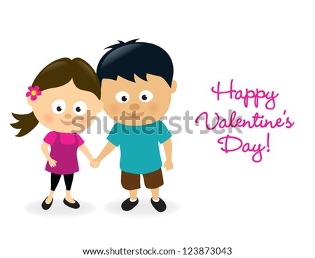 Valentines girl and boy - stock vector