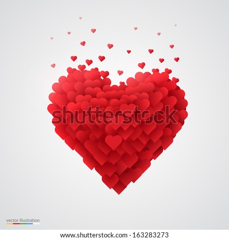Valentines heart. Decorative heart background with lot of valentines hearts.  Vector illustration. - stock vector