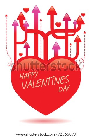 valentines heart with arrows 2 - stock vector