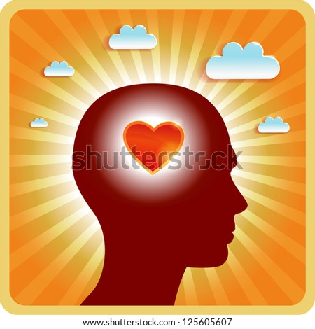 valentines in love head dreamer heart - stock vector