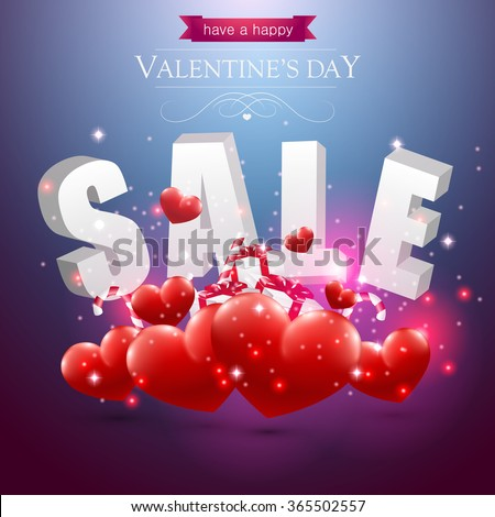 Valentines sale sign with red hearts presents and candy on a blue background. - stock vector