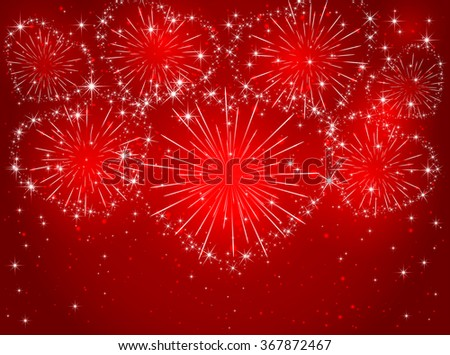 Valentines sparkling fireworks in the form of hearts on red shiny background, illustration. - stock vector