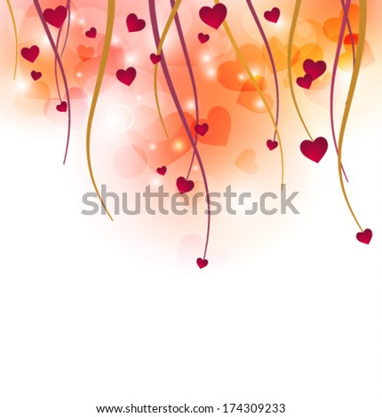 Valentines with the transparent heart and shining elements . EPS 10  - stock vector