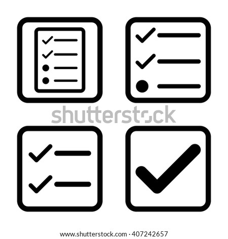 Valid vector icon. Image style is a flat icon symbol inside a square rounded frame, black color, white background. - stock vector