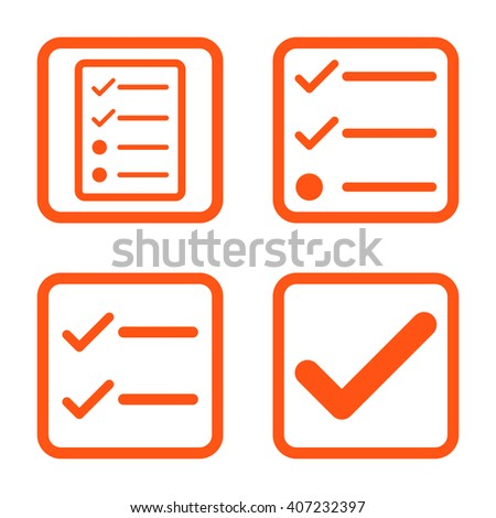 Valid vector icon. Image style is a flat icon symbol inside a square rounded frame, orange color, white background. - stock vector