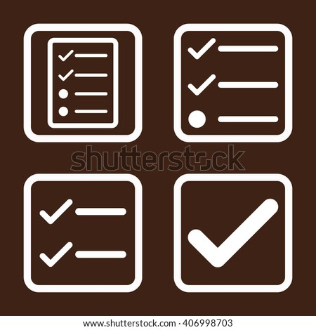 Valid vector icon. Image style is a flat icon symbol inside a square rounded frame, white color, brown background. - stock vector