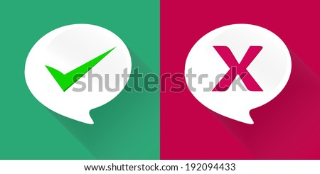 Validation on white bubble quote speech long shadow style. - stock vector