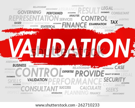 VALIDATION word cloud, business concept - stock vector