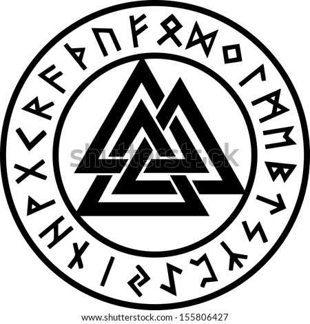 Valknut, Rune Circle, Odin Symbol, Trinity - stock vector