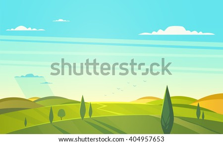 Valley landscape. Vector illustration. - stock vector