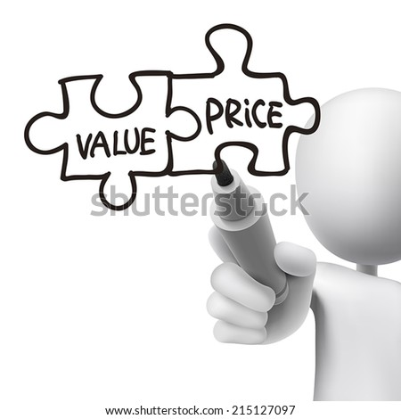 value and price words written by 3d man over white  - stock vector