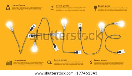 Value concept modern design template, Creative light bulb idea abstract info graphic banner workflow layout, diagram, step up options, Vector illustration - stock vector