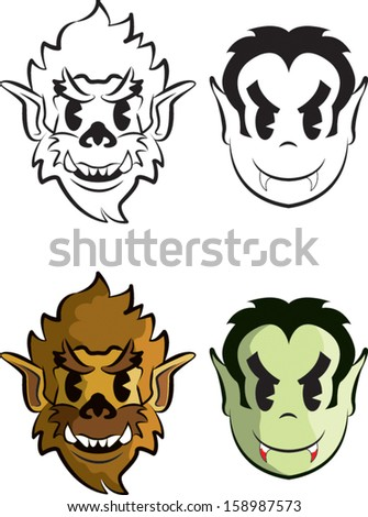 Vampire and Werewolf in the style of the old cartoons. - stock vector