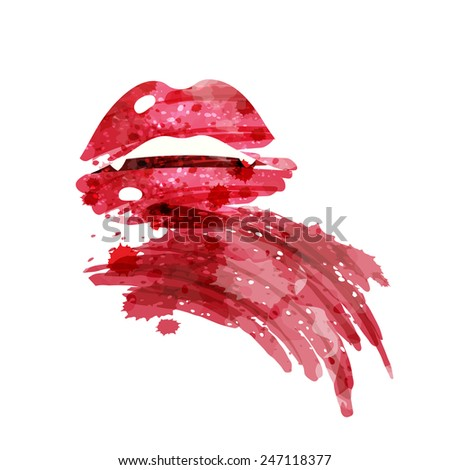 vampire bloody mouth and teeth, watercolor style, isolated vector illustration icon on a white background. - stock vector