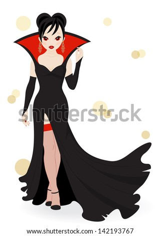 vampire girl in a long black dress isolated on white background - stock vector