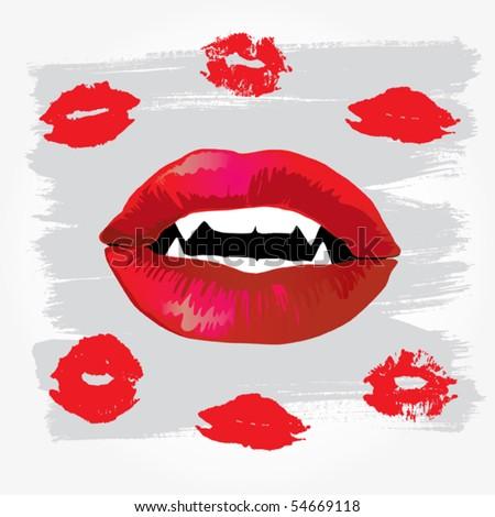 Vampire Lips - stock vector