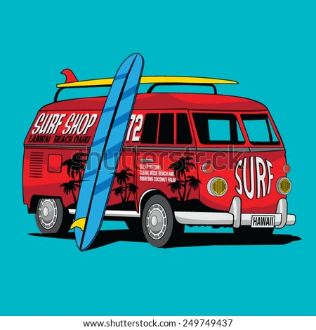 Van Surf Illustration, t-shirt graphics, vectors, typography - stock vector