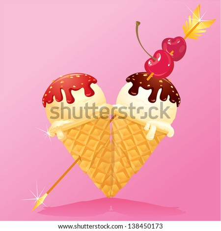 Vanilla Ice cream cones with Chocolate and strawberry glaze in heart shape with arrow and cherry. Design for Valentines Day - stock vector