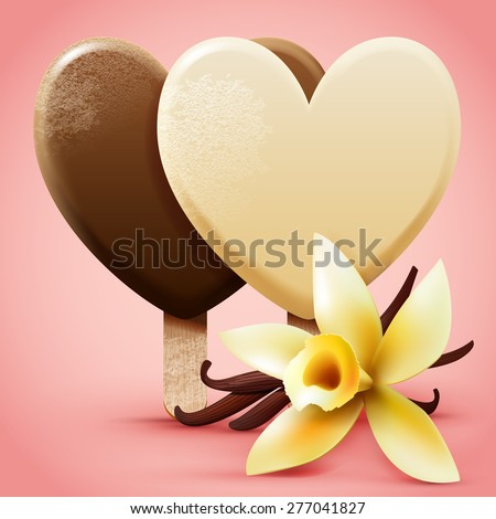 Vanilla ice cream. Heart shaped frosted sweet ice-cream on a stick with flower and pods. Realistic detailed vector illustration. - stock vector