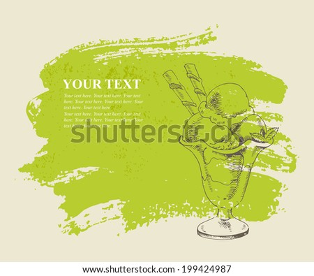Vanilla ice cream with mint in cup on green grunge background. - stock vector