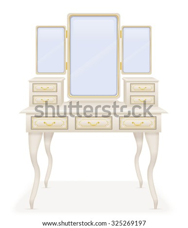 vanity table old retro furniture vector illustration vector illustration isolated on white background - stock vector