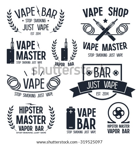 Vapor bar and vape shop logo and e-cigarette icons. Isolated on white background - stock vector
