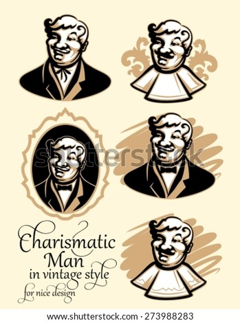 Variations of Portrait of a charismatic man with a mustache for label badge or logo in vintage style. Cute character for use in corporate design for cafe, bar or restaurant - stock vector