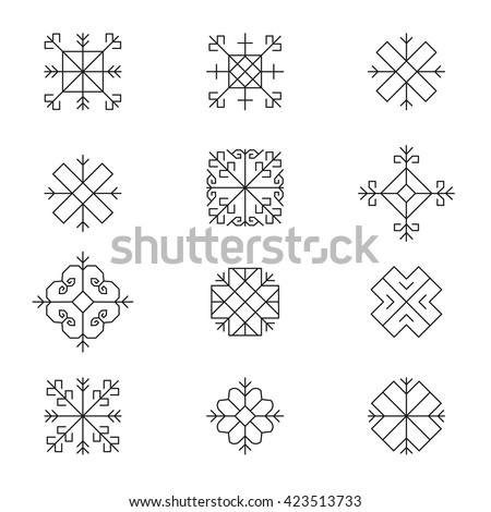 Variations of the ancient Latvian sun sign vector set -variable line- - stock vector