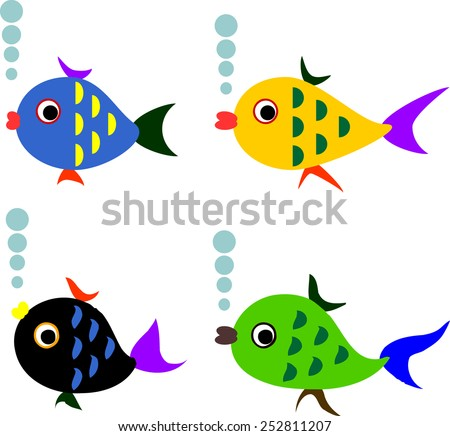 Varicolored fish, vector. - stock vector