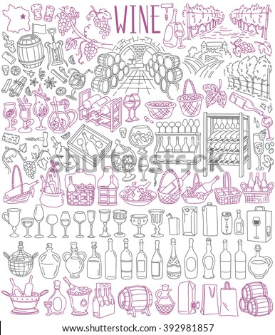 Variety of wine. Wine bottles, barrels, glasses, packaging. Winery products and accessories. Winemaking, viticulture and vineyards. Vector illustrations set isolated on white background  - stock vector