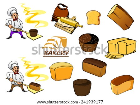 Variety sorts of bread and cartooned bakers in uniform holding hot loafs of white and brown bread isolated on white - stock vector