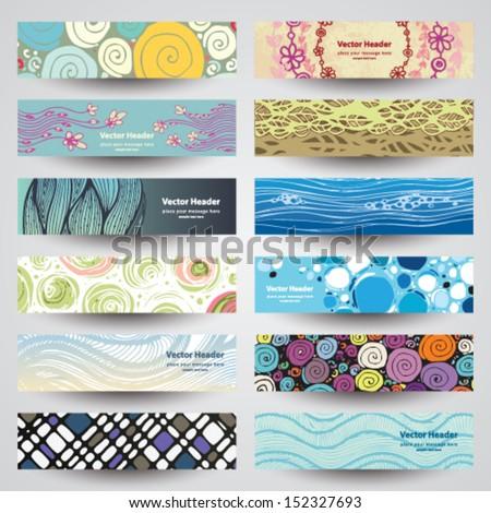 Various abstract 12 colorful header set collection vector design - stock vector